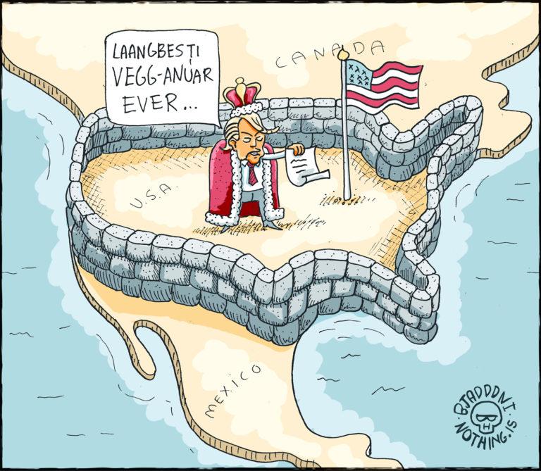 Veganúar - veggurinn Donal Trump